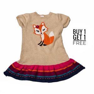 Gymboree Tan/Orange Fox Ruffle Hem Sweater Dress